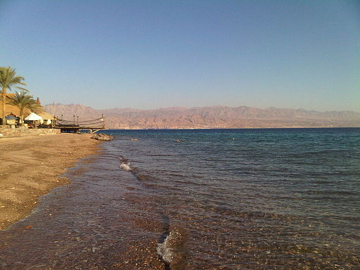 Red sea stony beach taba egypt