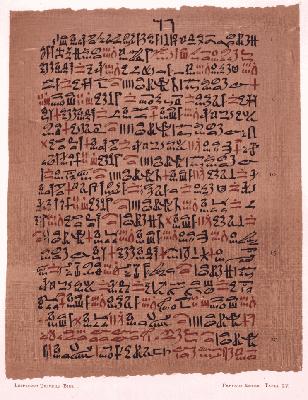 エーベルス・パピルス(エジプト語で書かれた医学文書。喘息の治療法について書かれた部分。文字はヒエラティック。)